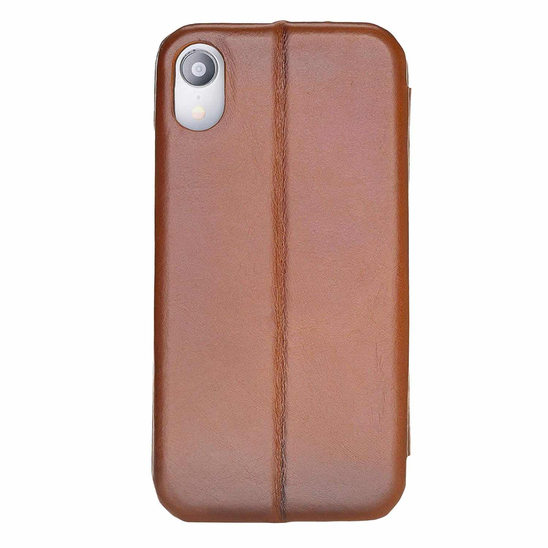 Solo Pelle Lederhülle passend zu iPhone XR 6.1 Zoll abnehmbare Hülle inkl. Kartenfächer für das original Apple iPhone XR (F360 Elite Cognac Braun Effekt)