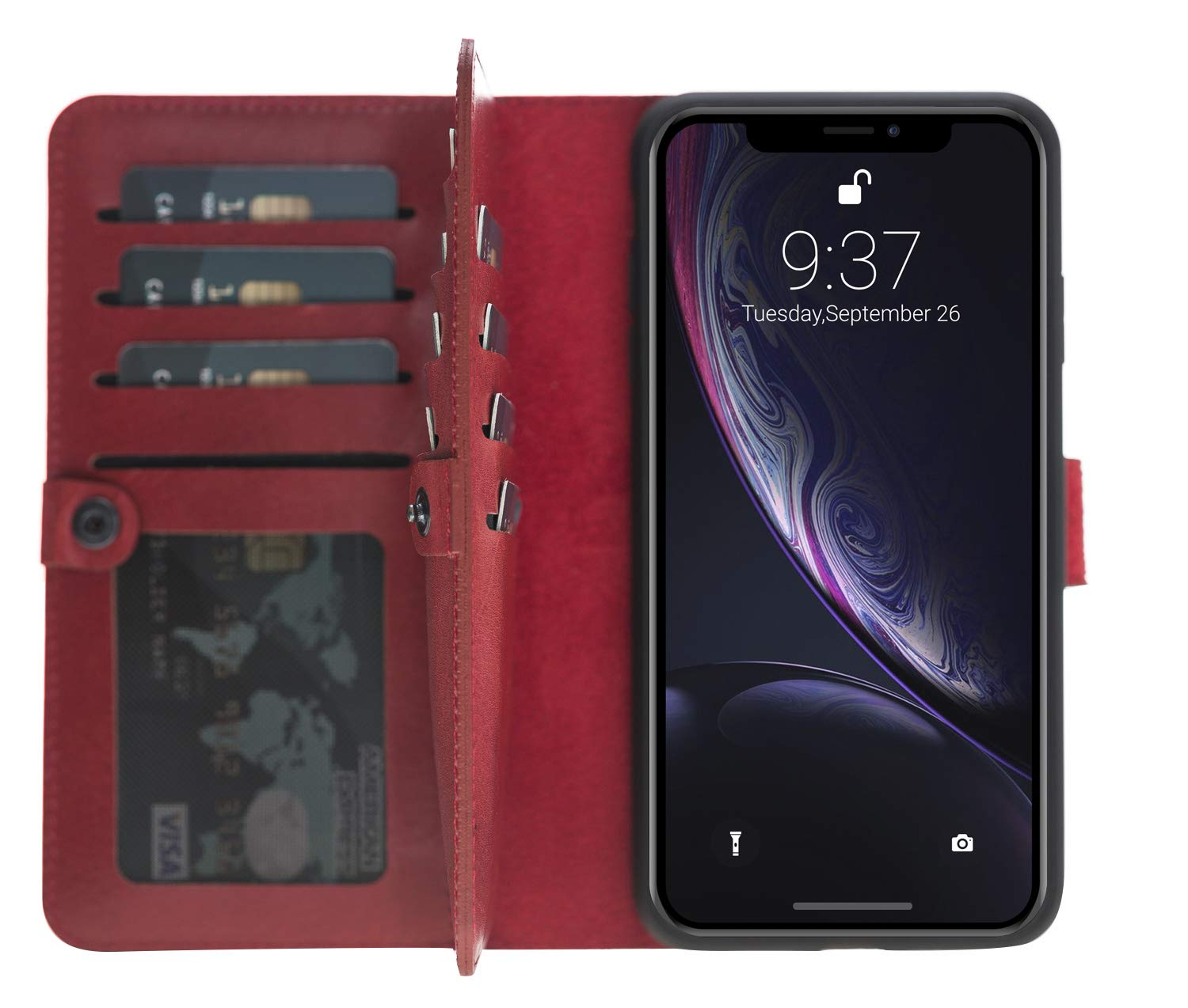 iPhone XS Max abnehmbare Lederhülle (Double 2in1) in Rot