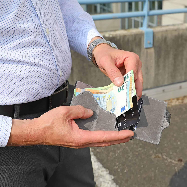 """Slim Wallet """"Mondo"""" ohne Münzfach [bis zu 13 Karten] + [RFID-Schutz] in (Steingrau)"""
