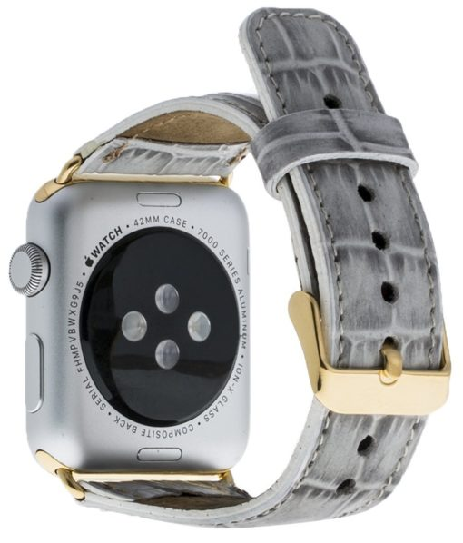 Apple Watch Lederarmband in 38mm / 40 mm  Kroko-Perlmut-Weiss / Gold farbiger Connector