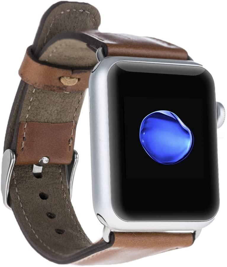 "Solo Pelle Apple Watch Series 1 / Series 2 / Series 3 / Series 4""Watch Leder Armband Uhrenband mit passendem Uhrenadapter Connector Erstatzband Strap (42 mm / 44 mm Cognac Braun/Silber Connector)"