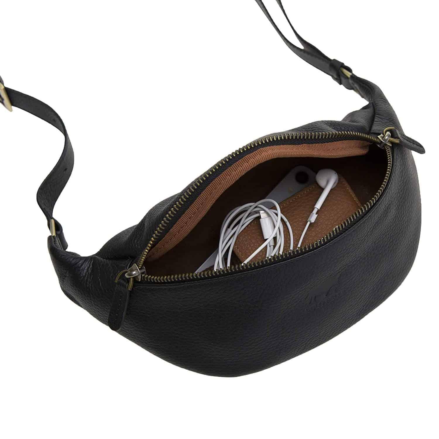 Solo Pelle Bauchtasche/Brusttasche aus echtem Leder Belt Beltbag (Schwarz)