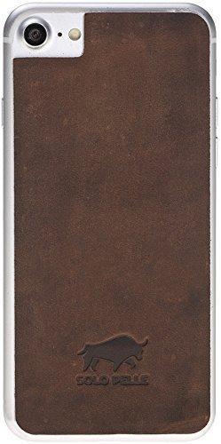 iPhone 8 und 7 abnehmbarer Lederrücken zum Schutz aus echtem Leder in Vintage Braun