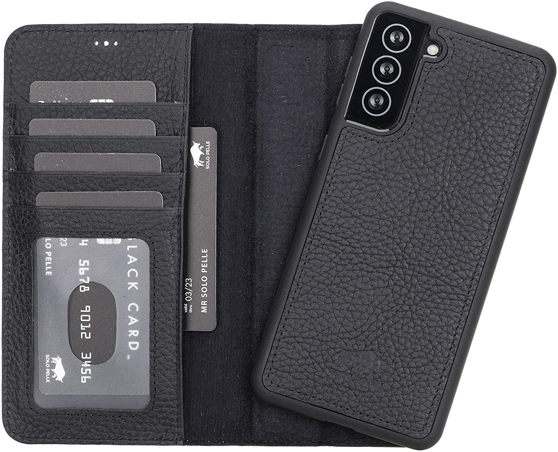 Solo Pelle Lederhülle Harvard kompatibel für das Samsung Galaxy S21 + Plus 5G in 6.8 Zoll inklusive abnehmbare Hülle mit integrierten Kartenfächern (Matt Schwarz)