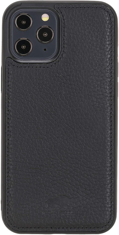 Solo Pelle Lederhülle für das iPhone 12 / 12 Max in 6.1 Zoll Stanford Case Leder Hülle Ledertasche Backcover aus echtem Leder (Matt Schwarz)