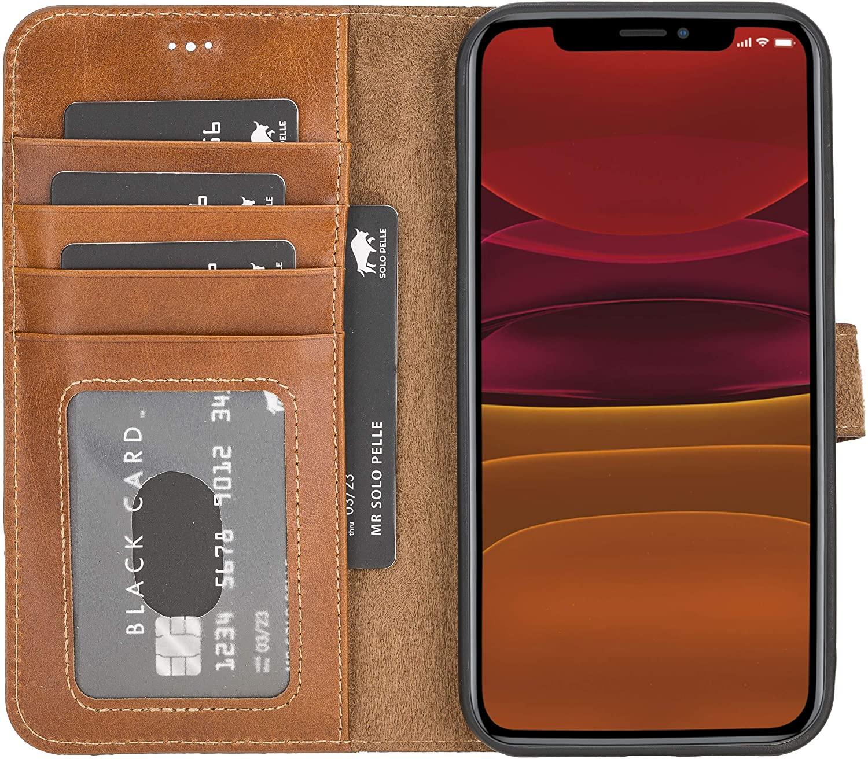 "iPhone 12 Pro Max abnehmbare Lederhülle ""Harvard"" MagSafe kompatibel (Cognac Braun)"