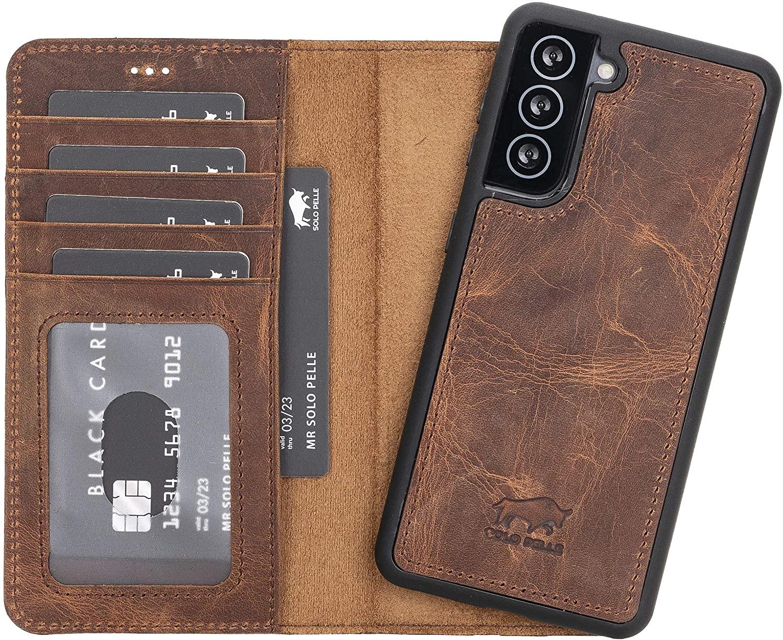 Solo Pelle Lederhülle Harvard kompatibel für das Samsung Galaxy S21 5G in 6.3 Zoll inklusive abnehmbare Hülle mit integrierten Kartenfächern (Vintage Braun)