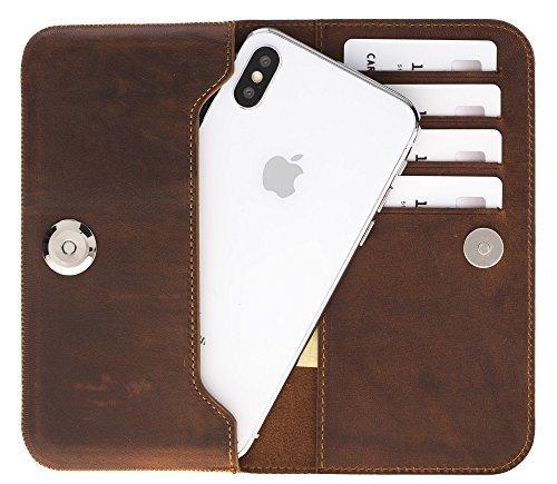 Universal Lederhülle passend für das iPhone x/xs und Geräte ähnlicher Grösse aus echtem Leder in Vintage Braun
