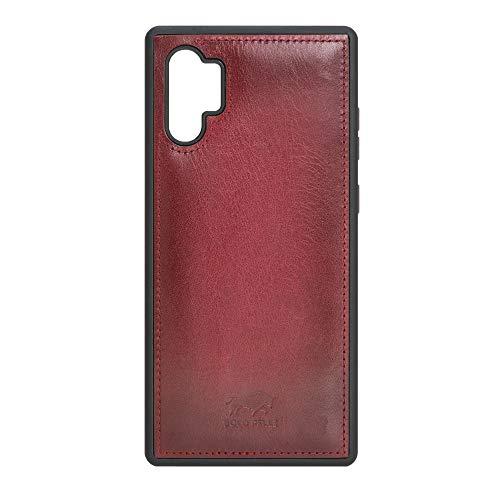 Solo Pelle Lederhülle für das Samsung Galaxy Note 10 Plus/Note 10+ 5G Hülle, Schutzhülle aus echtem Leder, Model: Stanford (Rot Burned)
