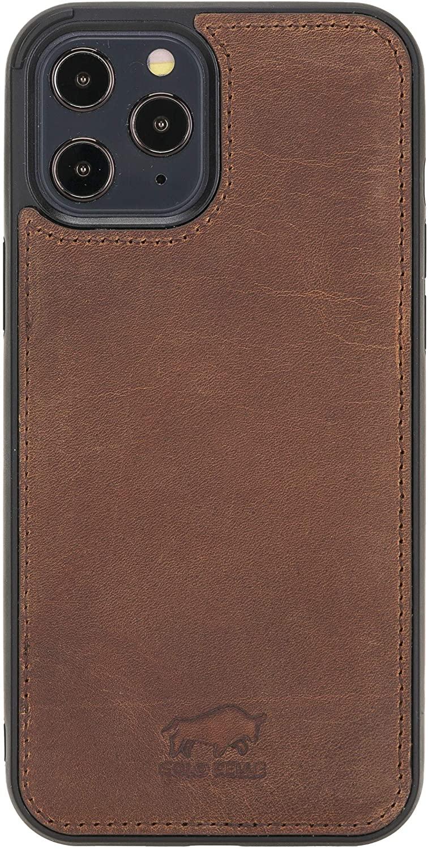 Solo Pelle Lederhülle für das iPhone 12 Pro Max in 6.7 Zoll Stanford Case Leder Hülle Ledertasche Backcover aus echtem Leder (Vintage Braun)