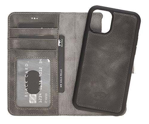 Solo Pelle Lederhülle kompatibel für iPhone 11 Pro in 5.8 Zoll abnehmbare Hülle (2in1) inkl. Kartenfächer für das original Apple iPhone 11 Pro (Steingrau Burned)