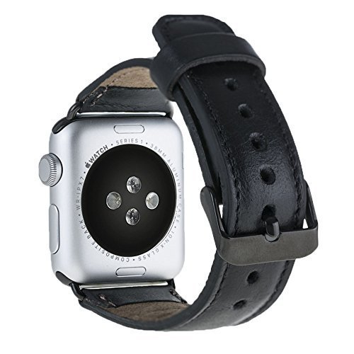 Apple Watch Lederarmband in 42mm / 44 mm Schwarz / Schwarze Connector