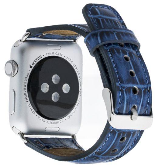 Apple Watch Lederarmband in 42mm / 44 mm Kroko-Blau / Silber farbiger Connector