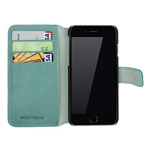 "iPhone 6 / 6S - ""Wallet"" - Pastelgrün aus Leder"