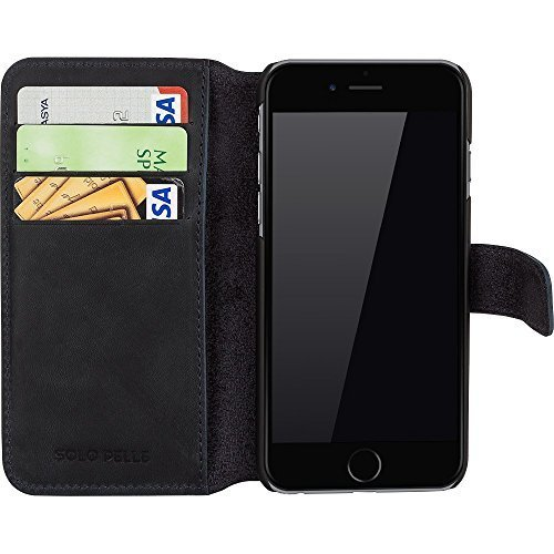 """Solo Pelle Iphone 6 Plus / 6S Plus (5.5 Zoll) """"Wallet"""" Ledertasche mit Aufstellfunktion & Kartenfächern, Vintage Blau"""