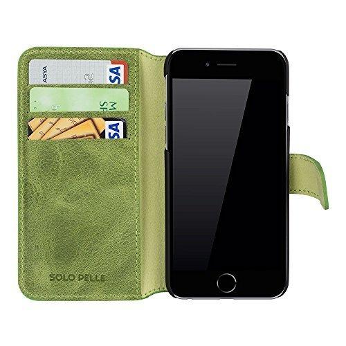 """iPhone 6 Plus / 6S Plus Hülle - """"Wallet"""" - Vintage Grün aus Leder"""