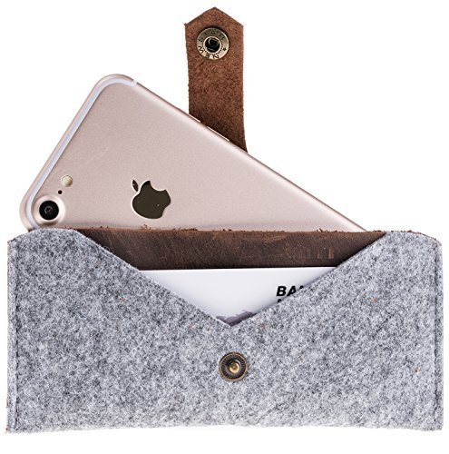 iPhone 8 Plus / 7 Plus / 6 Plus / 6S Plus Hülle - Grau-Braun aus Filz und Leder