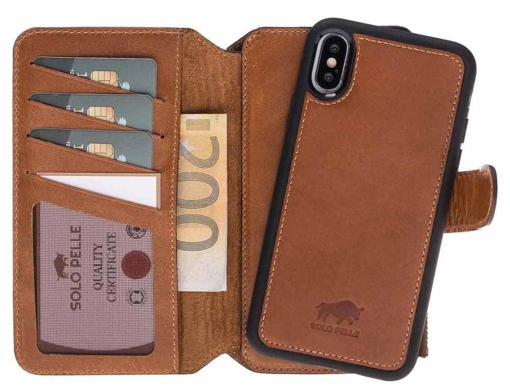 Solo Pelle Iphone X abnehmbare Lederhülle & Geldbörse inkl. 12 Kartenfächer + Geldscheinfach für das original Iphone X in Cognac Braun