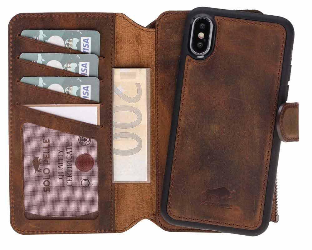 Solo Pelle Iphone X abnehmbare Lederhülle & Geldbörse inkl. 12 Kartenfächer + Geldscheinfach für das original Iphone X in Vintage Braun