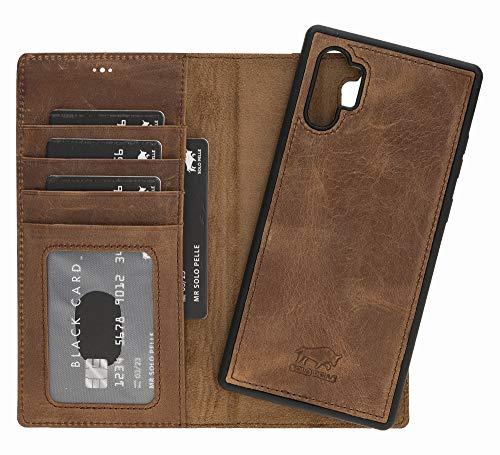 Solo Pelle Lederhülle Harvard kompatibel für das Samsung Galaxy Note 10 Plus/Note 10+ 5G inklusive abnehmbare Hülle mit integrierten Kartenfächern (Vintage Braun)