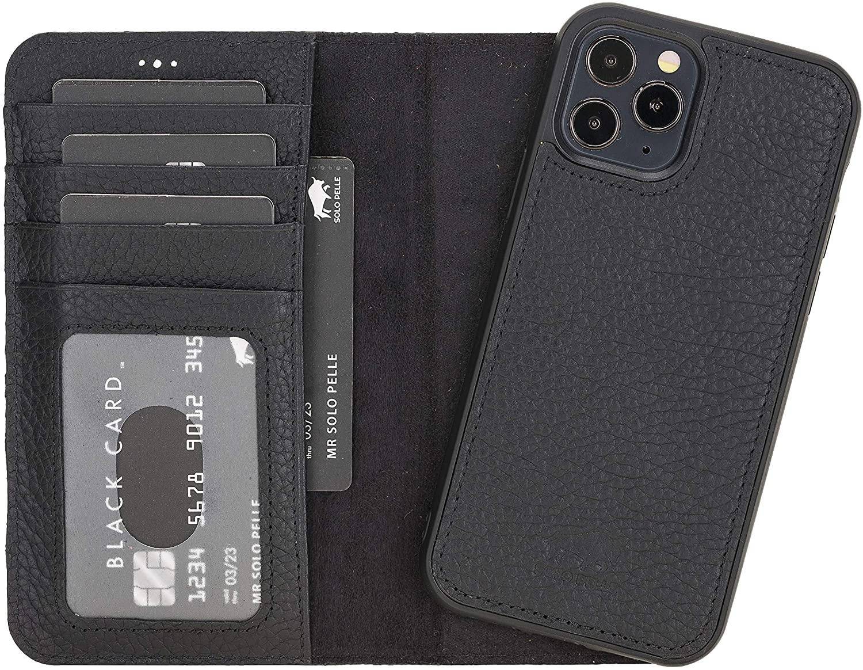"iPhone 12 | 12 Pro abnehmbare Lederhülle ""Harvard"" MagSafe kompatibel (Matt Schwarz)"