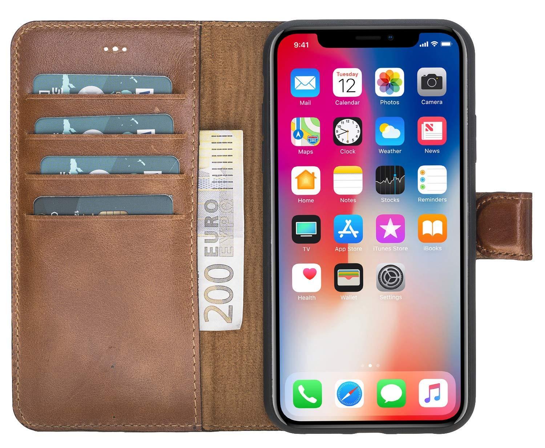 iPhone XR 6.1 Zoll Abnehmbare Lederhülle (2in1) in Cognac Braun Burned