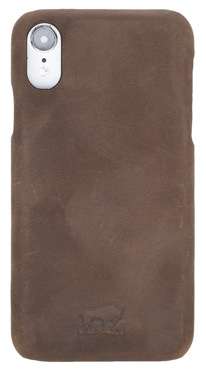iPhone XR Leder Hülle Tasche Lederhülle Ledertasche Backcover Ultra Slim in Vintage Braun