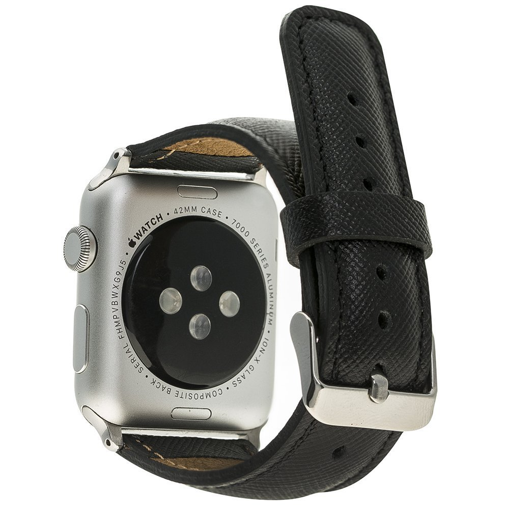 Apple Watch Lederarmband 38mm / 40 mm  in Saffiano Schwarz