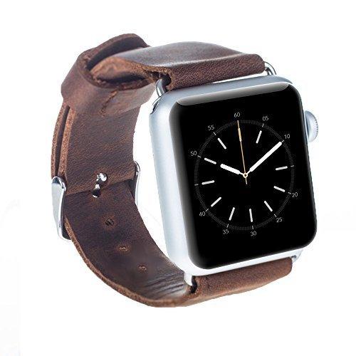 Apple Watch Lederarmband in 42mm / 44 mm Vintage Braun / Silber Connector