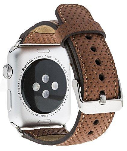 Apple Watch Lederarmband in 42mm / 44 mm Braun gelochtes Leder / Silber farbiger Connector