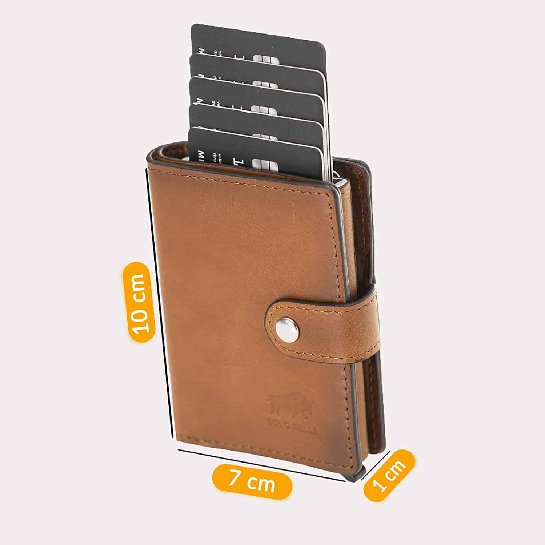 Solo Pelle Geldbörse für 15 Karten + Geldscheine + Kleingeld geeignet | Kreditkartenetui Kartenetui mit RFID aus echtem Leder Q-Wallet (Cognac Braun Burned + Kleingeldfach)