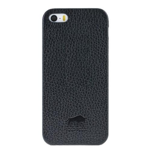 """iPhone SE / 5 / 5S Hülle - """"Fullcover"""" - Schwarz aus Leder"""