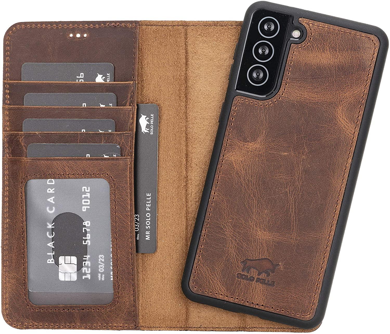 Solo Pelle Lederhülle Harvard kompatibel für das Samsung Galaxy S21 + Plus 5G in 6.8 Zoll inklusive abnehmbare Hülle mit integrierten Kartenfächern (Vintage Braun)