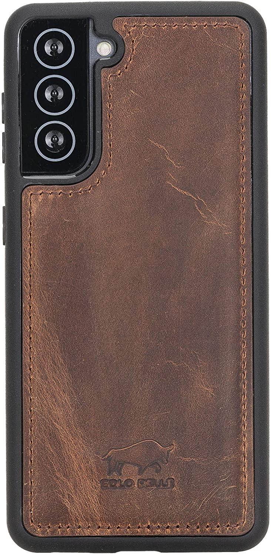Solo Pelle Lederhülle für das Samsung Galaxy S21 5G in 6.3 Zoll Hülle aus echtem Leder, Model: Stanford (Vintage Braun)