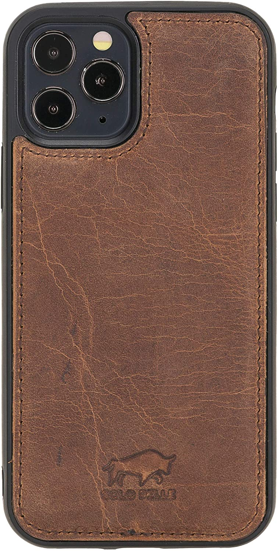 Solo Pelle Lederhülle für das iPhone 12 / 12 Max in 6.1 Zoll Stanford Case Leder Hülle Ledertasche Backcover aus echtem Leder (Vintage Braun)
