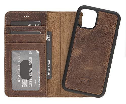 Solo Pelle Lederhülle kompatibel für iPhone 11 Pro in 5.8 Zoll abnehmbare Hülle (2in1) inkl. Kartenfächer für das original Apple iPhone 11 Pro (Vintage Braun)