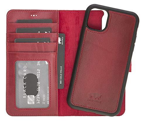 Solo Pelle Lederhülle kompatibel für iPhone 11 in 6.1 Zoll abnehmbare Hülle (2in1) inkl. Kartenfächer für das original Apple iPhone 11 (Rot Burned)