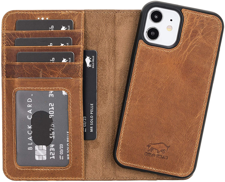 "iPhone 12 Mini abnehmbare Lederhülle ""Harvard"" MagSafe kompatibel (Camel Braun)"