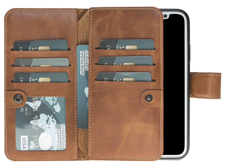 iPhone X Hülle - (Double 2in1) - Cognac Braun aus Leder