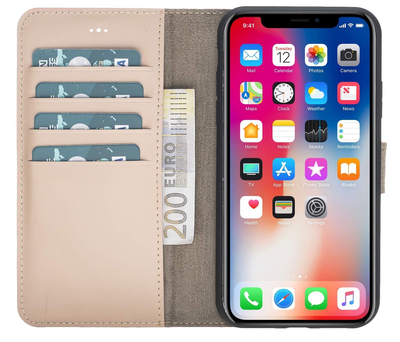 "iPhone XR 6.1 Zoll Abnehmbare Lederhülle ""Harvard"" in Nude Rosa"