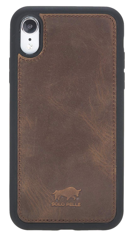 """iPhone XR 6.1 Zoll Abnehmbare Lederhülle """"Harvard"""" in Vintage Braun Leder Hülle Tasche Lederhülle Ledertasche"""