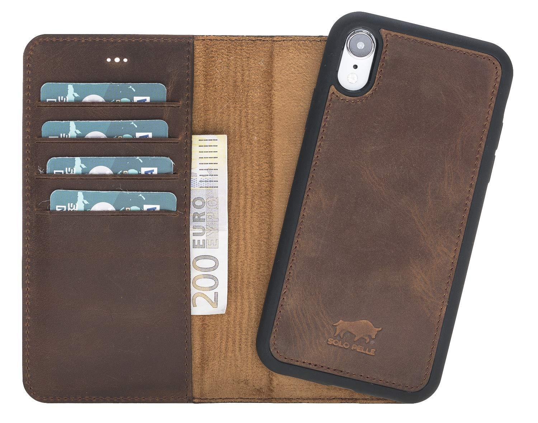 iPhone XR 6.1 Zoll Abnehmbare Lederhülle (2in1) in Vintage Braun