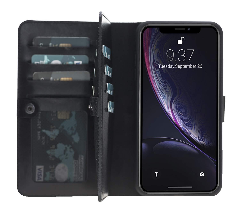 iPhone XS Max abnehmbare Lederhülle (Double 2in1) in Schwarz
